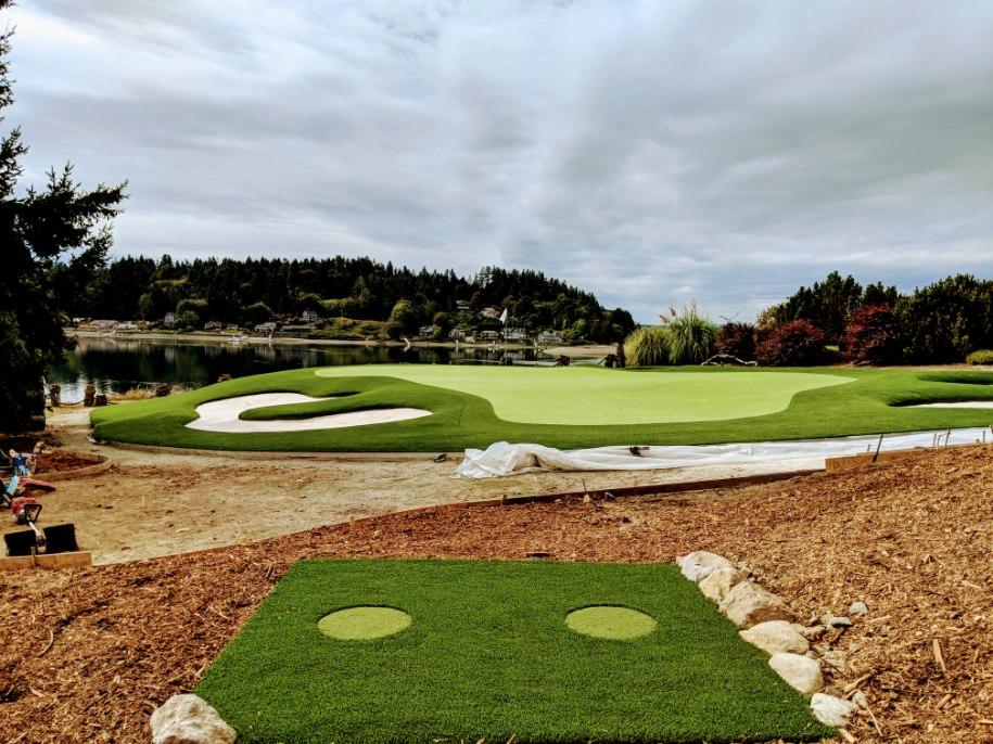large custom private golf green with chipping area